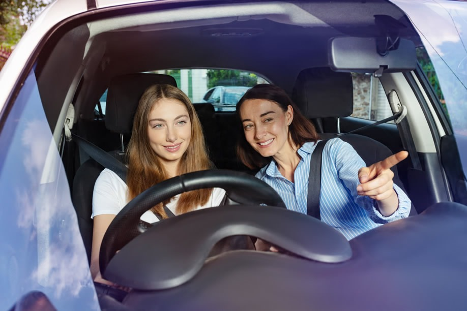 Learner Driver with Parent in Car