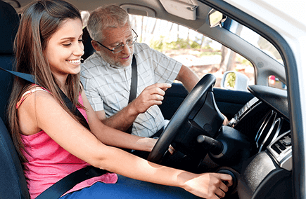 Learner driver and her Instructor