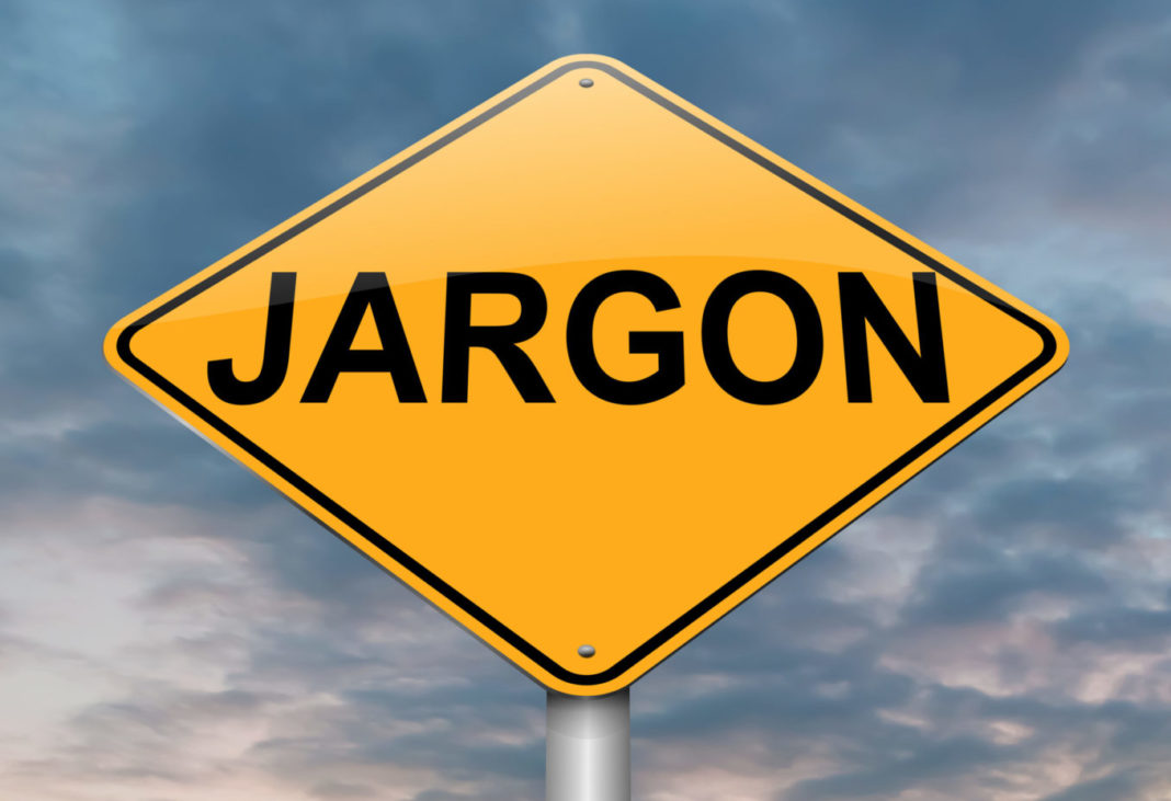 Road sign showing the word Jargon