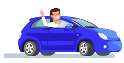 Animated Learner Driver Driving Blue Car