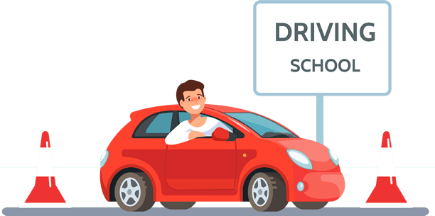 Cartoon Image of a Man at a Driving School