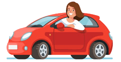 Animated Learner Driver Driving Red Car