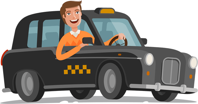Illustrated Taxi Driver Leaning out of Window