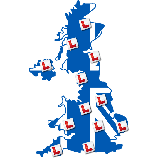 Image of United Kingdom With Learner Plates Over Cities
