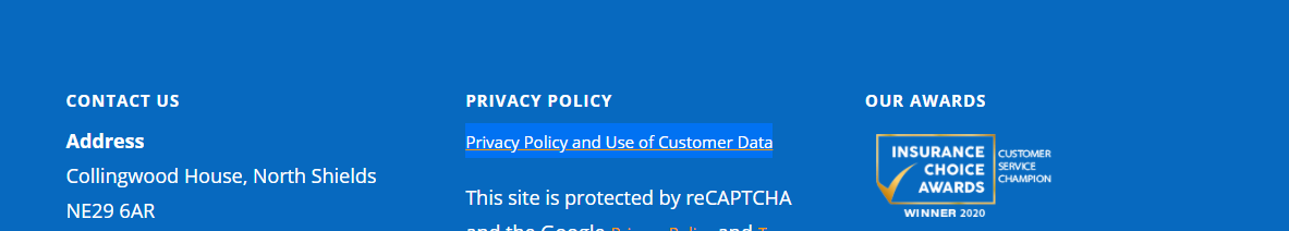 Privacy Policy Screenshot.